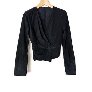 Sass & Bide Suede Drape Wrap Front Jacket